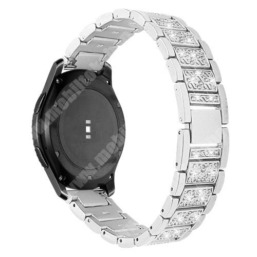 Okosóra szíj - EZÜST - rozsdamentes acél, strassz köves, 22mm széles -  HUAWEI Watch GT / HUAWEI Watch Magic / Watch GT 2 46mm / Honor MagicWatch 2 46mm