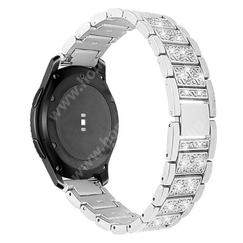 HUAWEI Watch GT 46mm Okosóra szíj - EZÜST - rozsdamentes acél, strassz köves, 22mm széles -  HUAWEI Watch GT / HUAWEI Watch Magic / Watch GT 2 46mm / Honor MagicWatch 2 46mm