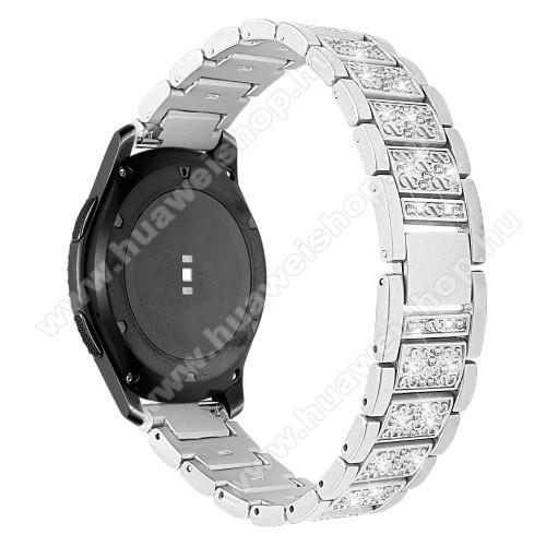 HUAWEI Watch MagicOkosóra szíj - EZÜST - rozsdamentes acél, strassz köves, 22mm széles -  HUAWEI Watch GT / HUAWEI Watch Magic / Watch GT 2 46mm / Honor MagicWatch 2 46mm