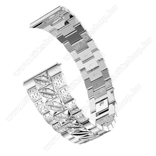Okosóra szíj - EZÜST - rozsdamentes acél, strasszkővel díszített, 22mm széles - SAMSUNG Galaxy Watch 46mm / SAMSUNG Gear S3 Classic / Gear S3 Frontier / Honor MagicWatch 2 46mm