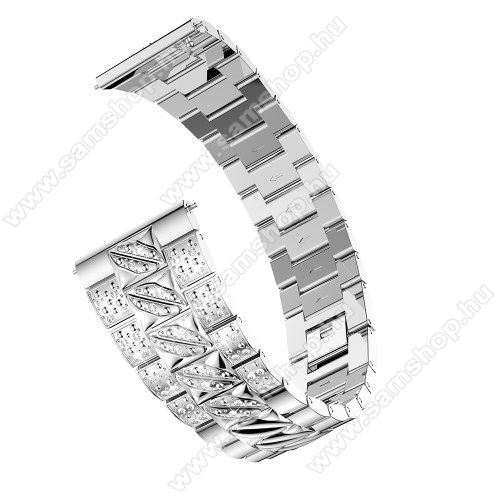 SAMSUNG Galaxy Watch3 45mm (SM-R845F)Okosóra szíj - EZÜST - rozsdamentes acél, strasszkővel díszített, 22mm széles - SAMSUNG Galaxy Watch 46mm / SAMSUNG Gear S3 Classic / Gear S3 Frontier / Honor MagicWatch 2 46mm