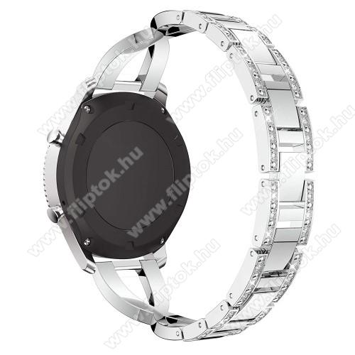 ZTE Watch GTOkosóra szíj - EZÜST - rozsdamentes acél, strassz köves minta, 172mm hosszú, 22mm széles - HUAWEI Watch GT / SAMSUNG Gear S2 (SM-R720) / HUAWEI Watch GT 2 46mm