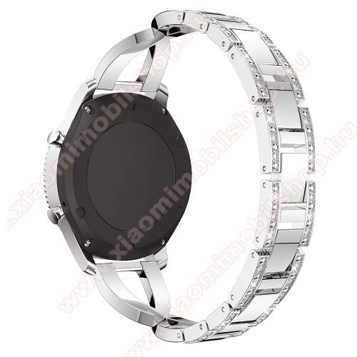 Xiaomi Amazfit Stratos 3Okosóra szíj - EZÜST - rozsdamentes acél, strassz köves minta, 172mm hosszú, 22mm széles - HUAWEI Watch GT / SAMSUNG Gear S2 (SM-R720) / HUAWEI Watch GT 2 46mm