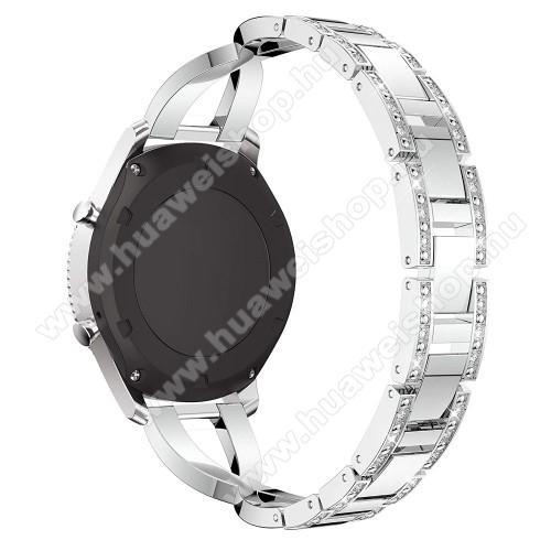 HUAWEI Watch 2 ProOkosóra szíj - EZÜST - rozsdamentes acél, strassz köves minta, 172mm hosszú, 22mm széles - HUAWEI Watch GT / SAMSUNG Gear S2 (SM-R720) / HUAWEI Watch GT 2 46mm