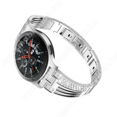 Okosóra szíj - EZÜST - rozsdamentes acél, strasszkővel díszített, 180mm hosszú, 22mm széles - HUAWEI Watch GT / SAMSUNG Gear S2 (SM-R720) / HUAWEI Watch GT 2 46mm