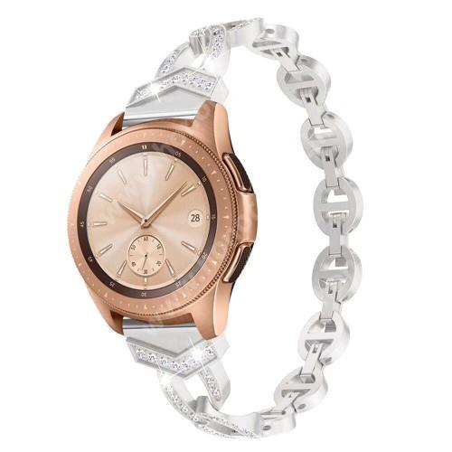 HUAWEI Honor MagicWatch 2 42mm Okosóra szíj - EZÜST - rozsdamentes acél, strassz köves, 20mm széles - SAMSUNG Galaxy Watch 42mm / Xiaomi Amazfit GTS / SAMSUNG Gear S2 / HUAWEI Watch GT 2 42mm / Galaxy Watch Active / Active 2