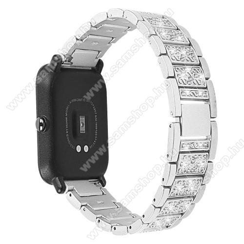 Okosóra szíj - EZÜST - rozsdamentes acél, strasszkővel díszített, 20mm széles - SAMSUNG Galaxy Watch 42mm / Xiaomi Amazfit GTS / HUAWEI Watch GT 2 42mm / Galaxy Watch Active / Active 2