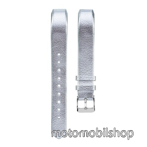 Okosóra szíj - EZÜST - valódi bőr - Fitbit Alta / Fitbit Alta HR
