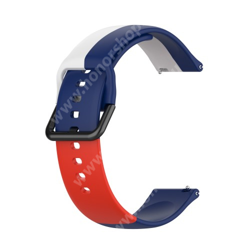 Okosóra szíj - FEHÉR / KÉK / PIROS - szilikon - 88mm + 130mm hosszú, 22mm széles - SAMSUNG Galaxy Watch 46mm / Watch GT2 46mm / Watch GT 2e / Galaxy Watch3 45mm / Honor MagicWatch 2 46mm
