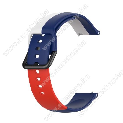 Okosóra szíj - FEHÉR / KÉK / PIROS - szilikon - 88mm + 130mm hosszú, 20mm széles - SAMSUNG Galaxy Watch 42mm / Amazfit GTS / Galaxy Watch3 41mm / HUAWEI Watch GT 2 42mm / Galaxy Watch Active / Active 2