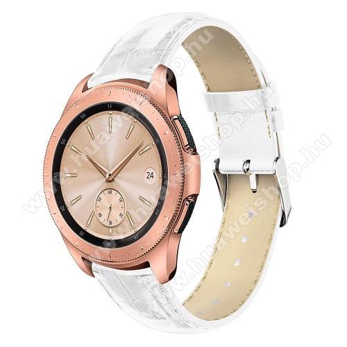 Okosóra szíj - FEHÉR - Krokodilbőr minta, Valódi bőr, 120mm + 80mm hosszú, 20mm széles, max 210mm-es csuklóra - SAMSUNG Galaxy Watch 42mm / HUAWEI Watch GT 2 42mm