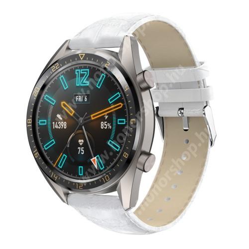 HUAWEI Watch GT 46mm Okosóra szíj - FEHÉR - Krokodilbőr mintás, valódi bőr - 120 + 80mm hosszú, 22mm széles, 140-210mm-es csuklóig ajánlott - SAMSUNG Galaxy Watch 46mm / SAMSUNG Gear S3 Classic / Gear S3 Frontier / Honor MagicWatch 2 46mm