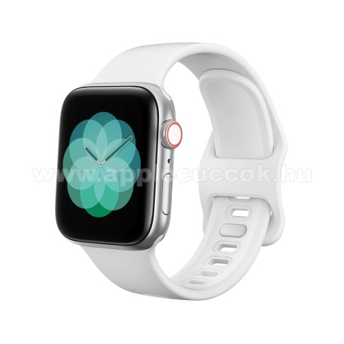 Okosóra szíj - FEHÉR - szilikon - 120mm + 104mm hosszú - Apple Watch Series 1/2/3 38mm / APPLE Watch Series 4 40mm / APPLE Watch Series 5 40mm