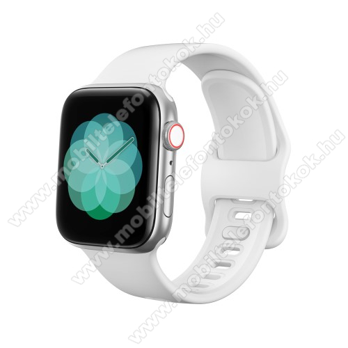 APPLE Watch SE 40mm Okosóra szíj - FEHÉR - szilikon - 120mm + 104mm hosszú - Apple Watch Series 1/2/3 38mm / APPLE Watch Series 4 40mm / APPLE Watch Series 5 40mm