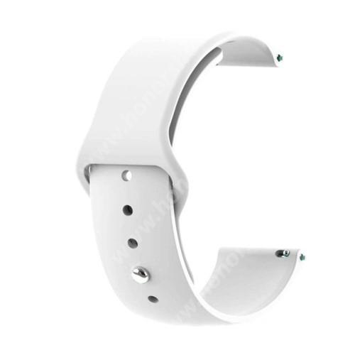HUAWEI Watch GT 2 42mm Okosóra szíj - FEHÉR - szilikon - 127mm + 95mm hosszú, 20mm széles - SAMSUNG Galaxy Watch 42mm / Xiaomi Amazfit GTS / SAMSUNG Gear S2 / HUAWEI Watch GT 2 42mm / Galaxy Watch Active / Active 2