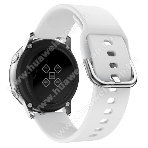 Okosóra szíj - FEHÉR - szilikon - 83mm + 116mm hosszú, 20mm széles, 130mm-től 205mm-es méretű csuklóig ajánlott - SAMSUNG Galaxy Watch 42mm / Xiaomi Amazfit GTS / HUAWEI Watch GT / SAMSUNG Gear S2 / HUAWEI Watch GT 2 42mm / Galaxy Watch Active / Active  2