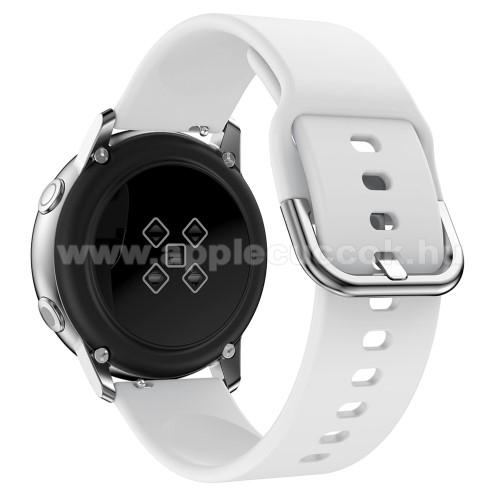 Okosóra szíj - FEHÉR - szilikon - 83mm + 116mm hosszú, 20mm széles, 130mm-től 205mm-es méretű csuklóig ajánlott - SAMSUNG Galaxy Watch 42mm / Xiaomi Amazfit GTS / HUAWEI Watch GT / SAMSUNG Gear S2 / HUAWEI Watch GT 2 42mm / Galaxy Watch Active / Active  2