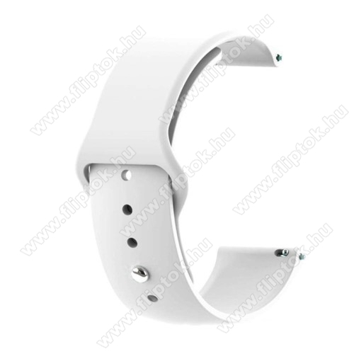 EVOLVEO SPORTWATCH M1SOkosóra szíj - FEHÉR - szilikon - 85mm + 95mm hosszú, 20mm széles - SAMSUNG Galaxy Watch 42mm / Xiaomi Amazfit GTS / SAMSUNG Gear S2 / HUAWEI Watch GT 2 42mm / Galaxy Watch Active / Active 2