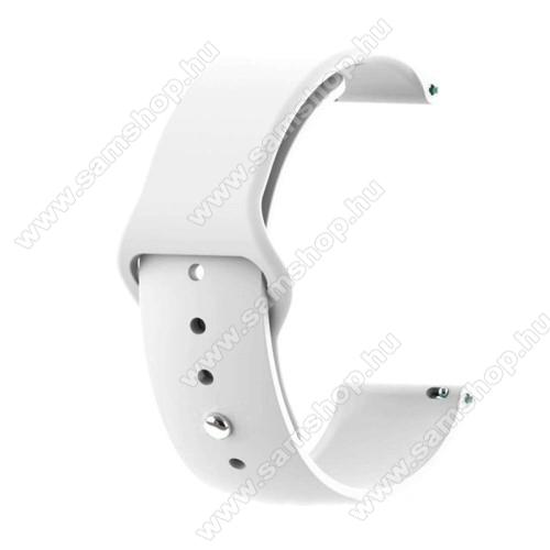 SAMSUNG Galaxy Gear Sport (SM-R600)Okosóra szíj - FEHÉR - szilikon - 85mm + 95mm hosszú, 20mm széles - SAMSUNG Galaxy Watch 42mm / Xiaomi Amazfit GTS / SAMSUNG Gear S2 / HUAWEI Watch GT 2 42mm / Galaxy Watch Active / Active 2