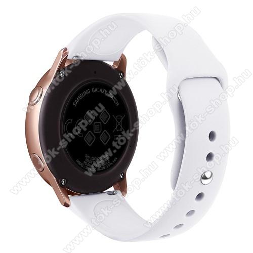 Okosóra szíj - FEHÉR - szilikon - 95mm + 130mm hosszú, 20mm széles, 170mm-től 225mm-es méretű csuklóig ajánlott - SAMSUNG SM-R500 Galaxy Watch Active / SAMSUNG Galaxy Watch Active2 40mm / SAMSUNG Galaxy Watch Active2 44mm