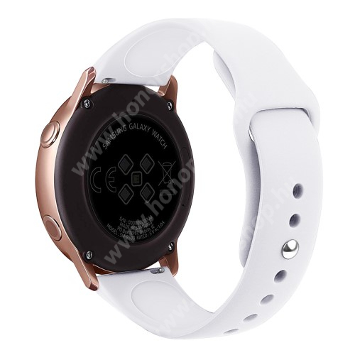 HUAWEI Honor MagicWatch 2 42mm Okosóra szíj - FEHÉR - szilikon - 95mm + 130mm hosszú, 20mm széles, 170mm-től 225mm-es méretű csuklóig ajánlott - SAMSUNG Galaxy Watch 42mm / Xiaomi Amazfit GTS / SAMSUNG Gear S2 / HUAWEI Watch GT 2 42mm / Galaxy Watch Active / Active 2