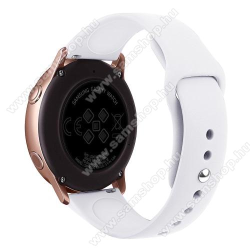SAMSUNG Galaxy Gear Sport (SM-R600)Okosóra szíj - FEHÉR - szilikon - 95mm + 130mm hosszú, 20mm széles, 170mm-től 225mm-es méretű csuklóig ajánlott - SAMSUNG Galaxy Watch 42mm / Xiaomi Amazfit GTS / SAMSUNG Gear S2 / HUAWEI Watch GT 2 42mm / Galaxy Watch Active / Active 2