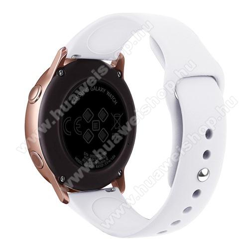HUAWEI Honor MagicWatch 2 42mmOkosóra szíj - FEHÉR - szilikon - 95mm + 130mm hosszú, 20mm széles, 170mm-től 225mm-es méretű csuklóig ajánlott - SAMSUNG Galaxy Watch 42mm / Xiaomi Amazfit GTS / SAMSUNG Gear S2 / HUAWEI Watch GT 2 42mm / Galaxy Watch Active / Active 2