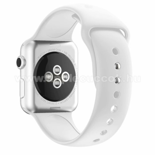 Apple Watch Series 5 44mm Okosóra szíj - FEHÉR - szilikon - APPLE Watch Series 3/2/1 42mm / APPLE Watch Series 4 44mm / APPLE Watch Series 5 44mm