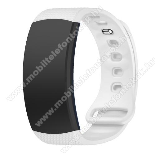 Okosóra szíj - FEHÉR - szilikon, L-es méret, 90mm+123mm hosszú, 150mm-től 213mm-es méretű csuklóig ajánlott - SAMSUNG Gear Fit 2 SM-R360 / Samsung Gear Fit 2 Pro SM-R365
