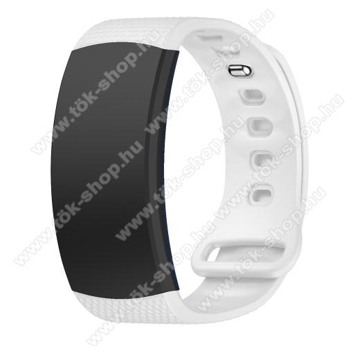 Okosóra szíj - FEHÉR - szilikon, S-es méret, 95mm+90mm hosszú, 126mm-től 175mm-es méretű csuklóig ajánlott - SAMSUNG Gear Fit 2 SM-R360 / Samsung Gear Fit 2 Pro SM-R365
