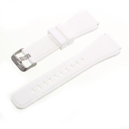 Okosóra szíj - FEHÉR - szilikon, Twill mintás - 85 + 120mm hosszú, 22mm széles - SAMSUNG Galaxy Watch 46mm / SAMSUNG Gear S3 Classic / SAMSUNG Gear S3 Frontier
