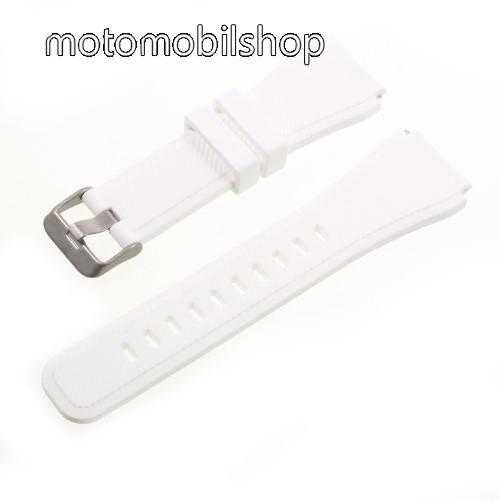 Okosóra szíj - FEHÉR - szilikon, Twill mintás - 90 + 103mm hosszú, 22mm széles - SAMSUNG Galaxy Watch 46mm / SAMSUNG Gear S3 Classic / SAMSUNG Gear S3 Frontier