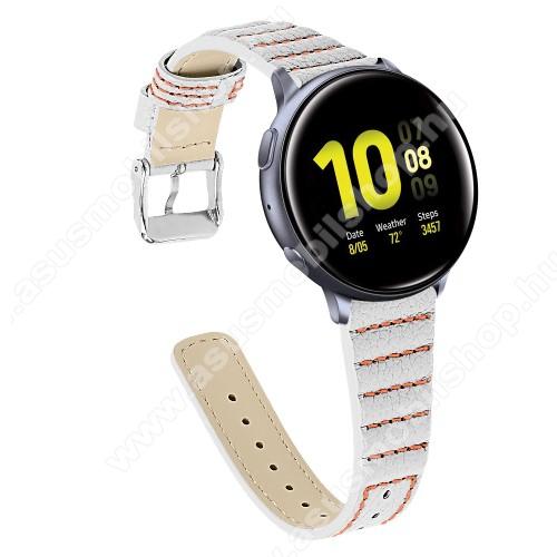 Okosóra szíj - FEHÉR - valódi bőr, 115+75mm hosszú, 22mm széles - SAMSUNG SM-R800NZ Galaxy Watch 46mm