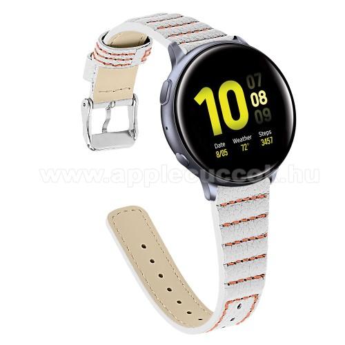 Okosóra szíj - FEHÉR - valódi bőr, 115+75mm hosszú, 20mm széles - SAMSUNG Galaxy Watch 42mm / Xiaomi Amazfit GTS / SAMSUNG Gear S2 / HUAWEI Watch GT 2 42mm / Galaxy Watch Active / Active 2