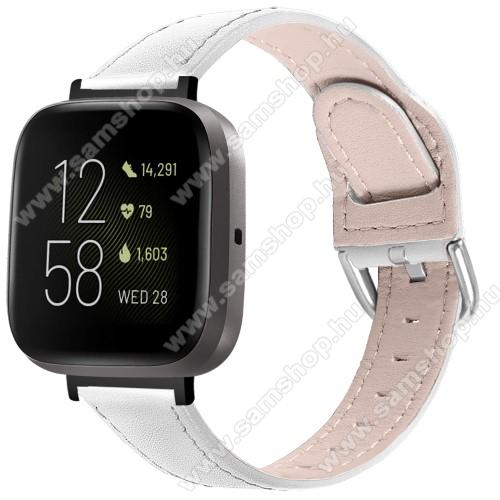 Okosóra szíj - FEHÉR - valódi bőr - 75mm + 115mm hosszú, 22.5mm széles, 144-200mm-es átmérőjű csuklóméretig ajánlott - Fitbit Versa 3 / Fitbit Sense