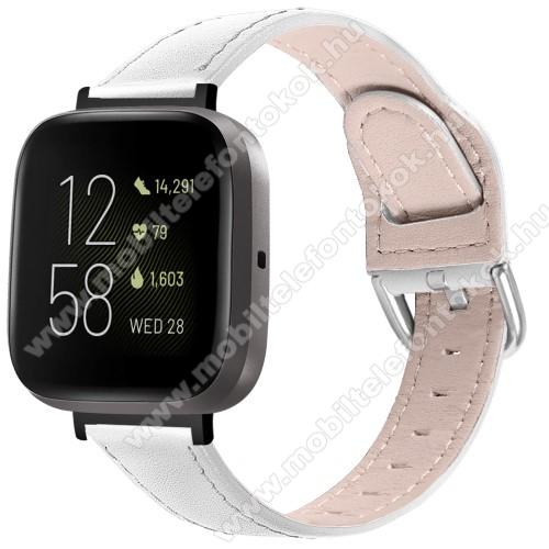 Fitbit Versa 3Okosóra szíj - FEHÉR - valódi bőr - 75mm + 115mm hosszú, 22.5mm széles, 144-200mm-es átmérőjű csuklóméretig ajánlott - Fitbit Versa 3 / Fitbit Sense
