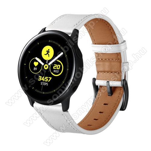 Okosóra szíj - FEHÉR - valódi bőr - 80mm + 120mm hosszú, 20mm széles - SAMSUNG Galaxy Watch 42mm / Xiaomi Amazfit GTS / SAMSUNG Gear S2 / HUAWEI Watch GT 2 42mm / Galaxy Watch Active / Active 2