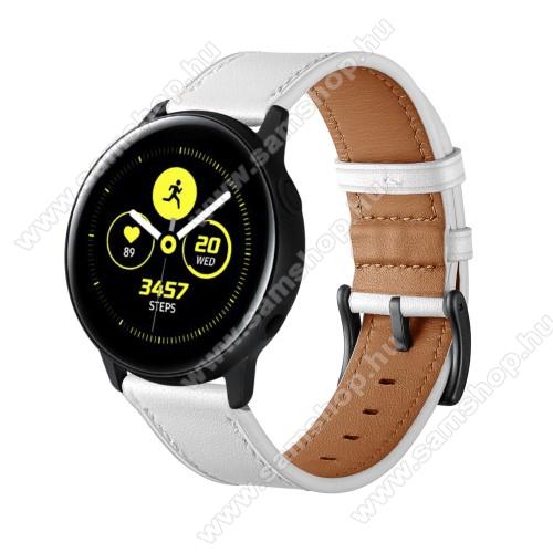 Okosóra szíj - FEHÉR - valódi bőr - 80mm + 120mm hosszú, 20mm széles - SAMSUNG Galaxy Watch 42mm / Xiaomi Amazfit GTS / SAMSUNG Gear S2 / HUAWEI Watch GT 2 42mm / Galaxy Watch Active / Active 2
