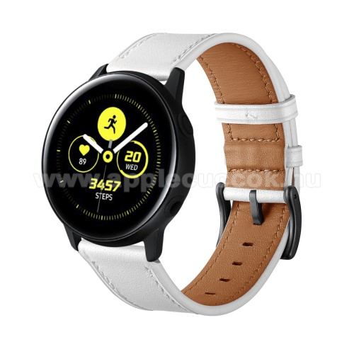 Okosóra szíj - FEHÉR - valódi bőr - 80mm + 120mm hosszú, 20mm széles - SAMSUNG Galaxy Watch 42mm / Xiaomi Amazfit GTS / HUAWEI Watch GT / SAMSUNG Gear S2 / HUAWEI Watch GT 2 42mm / Galaxy Watch Active / Active 2