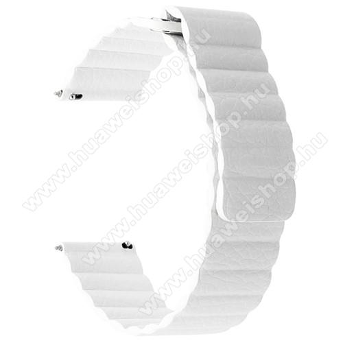 Okosóra szíj - FEHÉR - valódi bőr, mágneses - 22mm széles, 160-204 mm-es csuklóig használható - HUAWEI Watch GT / SAMSUNG Galaxy Watch 46mm / SAMSUNG Gear S3 Classic / SAMSUNG Gear S3 Frontier