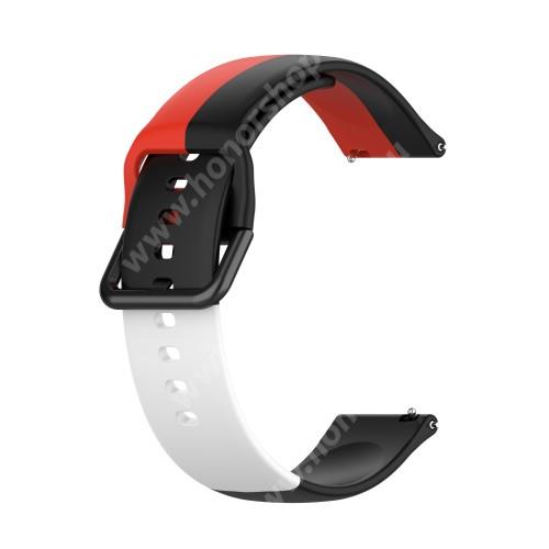 Okosóra szíj - FEKETE / FEHÉR / PIROS - szilikon - 88mm + 130mm hosszú, 22mm széles - SAMSUNG Galaxy Watch 46mm / Watch GT2 46mm / Watch GT 2e / Galaxy Watch3 45mm / Honor MagicWatch 2 46mm