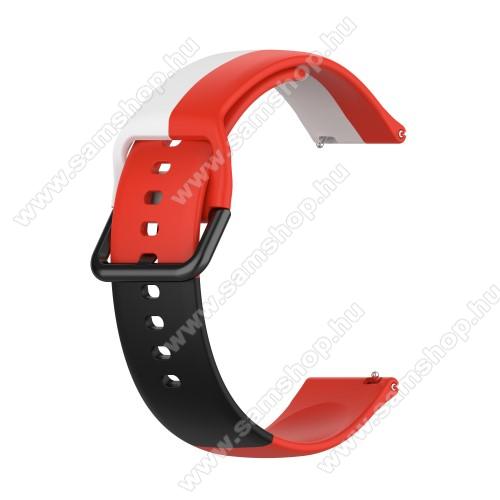Okosóra szíj - FEKETE / FEHÉR / PIROS - szilikon - 88mm + 130mm hosszú, 20mm széles - SAMSUNG Galaxy Watch 42mm / Amazfit GTS / Galaxy Watch3 41mm / HUAWEI Watch GT 2 42mm / Galaxy Watch Active / Active 2
