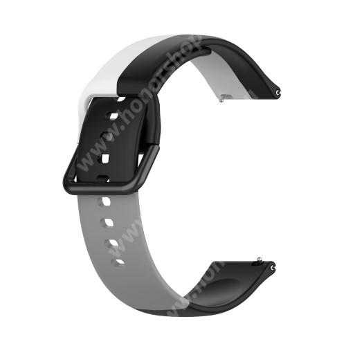 Okosóra szíj - FEKETE / FEHÉR / SZÜRKE - szilikon - 88mm + 130mm hosszú, 22mm széles - SAMSUNG Galaxy Watch 46mm / Watch GT2 46mm / Watch GT 2e / Galaxy Watch3 45mm / Honor MagicWatch 2 46mm