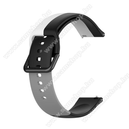 Okosóra szíj - FEKETE / FEHÉR / SZÜRKE - szilikon - 88mm + 130mm hosszú, 20mm széles - SAMSUNG Galaxy Watch 42mm / Amazfit GTS / Galaxy Watch3 41mm / HUAWEI Watch GT 2 42mm / Galaxy Watch Active / Active 2