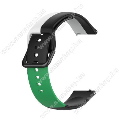 Okosóra szíj - FEKETE / FEHÉR / ZÖLD - szilikon - 88mm + 130mm hosszú, 22mm széles - SAMSUNG Galaxy Watch 46mm / Watch GT2 46mm / Watch GT 2e / Galaxy Watch3 45mm / Honor MagicWatch 2 46mm