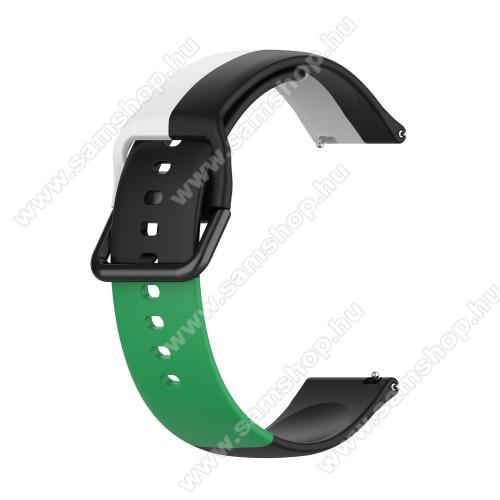 Okosóra szíj - FEKETE / FEHÉR / ZÖLD - szilikon - 88mm + 130mm hosszú, 20mm széles - SAMSUNG Galaxy Watch 42mm / Amazfit GTS / Galaxy Watch3 41mm / HUAWEI Watch GT 2 42mm / Galaxy Watch Active / Active 2