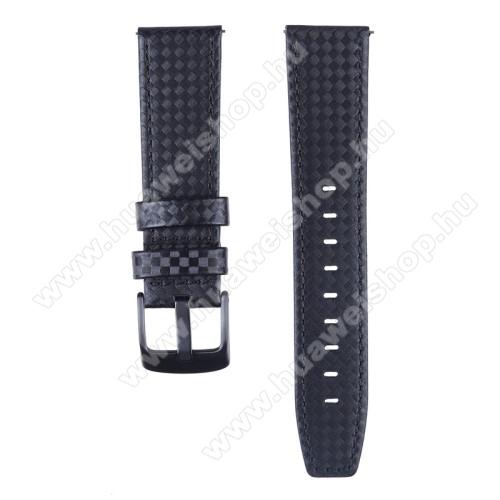 Okosóra szíj - FEKETE - KARBON MINTÁS - valódi bőr - 103mm + 88mm hosszú, 18mm széles - SAMSUNG Galaxy Watch 46mm / SAMSUNG Gear S3 Classic / SAMSUNG Gear S3 Frontier