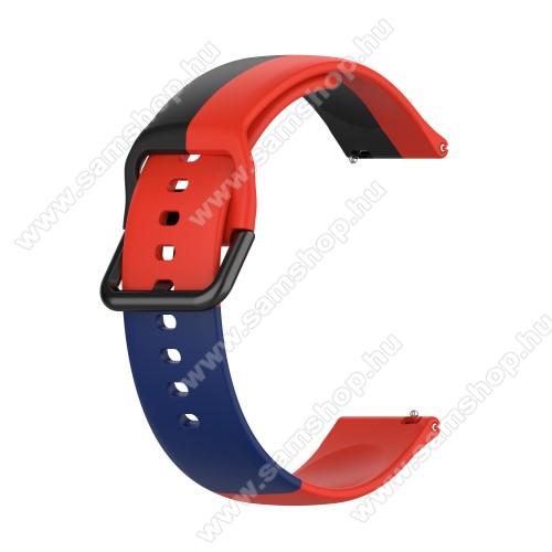 Okosóra szíj - FEKETE / KÉK / PIROS - szilikon - 88mm + 130mm hosszú, 22mm széles - SAMSUNG Galaxy Watch 46mm / Watch GT2 46mm / Watch GT 2e / Galaxy Watch3 45mm / Honor MagicWatch 2 46mm