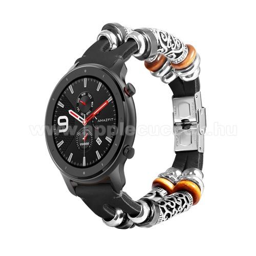 Okosóra szíj - FEKETE - kézzel készített valódi bőr, egyedi gyöngyökkel, 163mm hosszú, 20mm széles, 135-235mm-es csukóméretig - SAMSUNG Galaxy Watch 42mm / Xiaomi Amazfit GTS / SAMSUNG Gear S2 / HUAWEI Watch GT 2 42mm / Galaxy Watch Active / Active 2