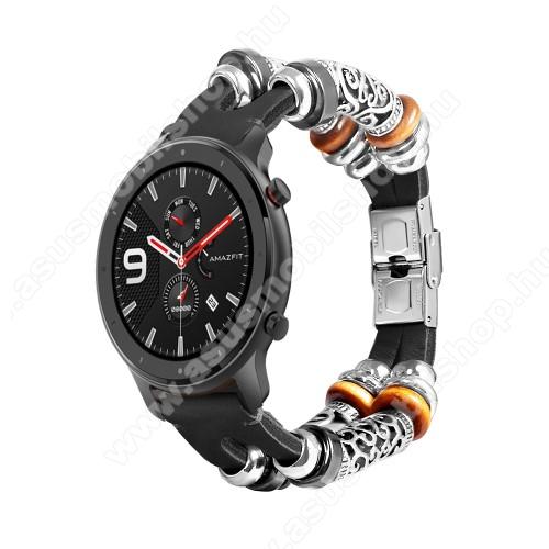 Okosóra szíj - FEKETE - kézzel készített valódi bőr, egyedi gyöngyökkel, 163mm hosszú, 22mm széles, 135-235mm-es csukóméretig - SAMSUNG Galaxy Watch 46mm / HUAWEI Watch GT 2 46mm / SAMSUNG Gear S3 Frontier